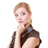 Portret van thougthful onderneemster peinzende vrouw stock fotografie