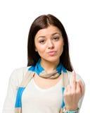 Portret van tiener met obsceen gebaar stock foto
