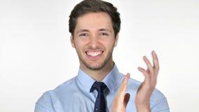 Portret van Toejuichende Zakenman, het Slaan stock footage