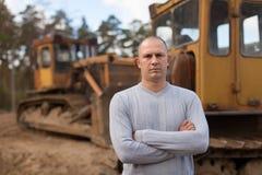 Portret van tractorexploitant Stock Foto's