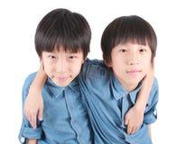 Portret van twee die jongens, tweelingen koesteren stock fotografie
