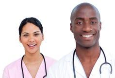 Portret van twee enthousiaste artsen Stock Afbeeldingen