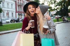 Portret van twee glimlachende aantrekkelijke meisjes die het winkelen zakken houden royalty-vrije stock foto's