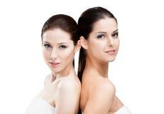 Portret van twee halve naakte vrouwen Royalty-vrije Stock Afbeeldingen