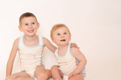Portret van twee kleine jongens Royalty-vrije Stock Afbeelding