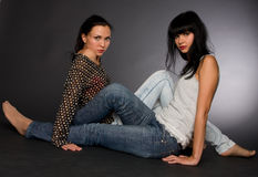 Portret van twee meisjes Royalty-vrije Stock Foto's