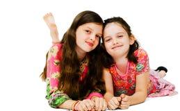 Portret van twee meisjes het glimlachen Stock Foto