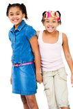 Portret van twee meisjes status Stock Afbeeldingen