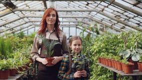 Portret van twee mensen aantrekkelijke moeder en leuke dochtertuinlieden in schorten die zich binnen serre en het houden bevinden stock video