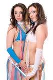 Portret van twee mooie jonge vrouwen Stock Afbeeldingen