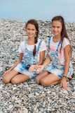 Portret van twee mooie meisjestweelingen stock fotografie
