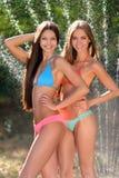 Portret van twee mooie sexy meisjes op het strand in de zomer Royalty-vrije Stock Afbeelding
