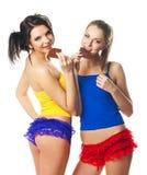 Portret van twee mooie vrolijke vrouwen Royalty-vrije Stock Foto