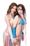 Portret van twee vrij jonge vrouwen. Geïsoleerdu Royalty-vrije Stock Fotografie