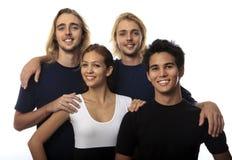 Portret van vier jonge vrienden royalty-vrije stock afbeelding