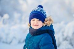 Portret van vier jongens de winter vage achtergrond Royalty-vrije Stock Fotografie