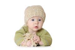 Portret van vijf maanden oud babymeisje het dragen stock foto's