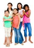 Portret van vijf vrienden status Stock Foto's