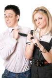 Portret van vrij grappig studentenpaar. Geïsoleerdd Stock Foto