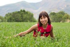 Portret van vrij jonge dame op een weide Stock Foto