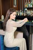 Portret van vrij sexy meisje in restaurant stock fotografie