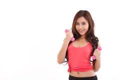 portret van vrij sportief meisje, de domoor van de handholding Stock Foto's