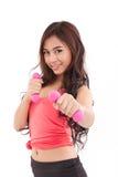 portret van vrij sportief meisje, de domoor van de handholding Royalty-vrije Stock Foto