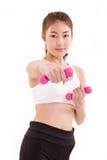 portret van vrij sportief meisje, de domoor van de handholding, gewicht RT Royalty-vrije Stock Afbeeldingen