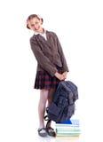 Portret van vrolijk schoolmeisje Stock Foto's