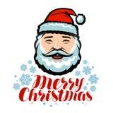Portret van vrolijke Santa Claus Vrolijke Kerstmis, groetkaart Vector illustratie royalty-vrije illustratie
