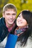 Portret van vrolijke studenten Stock Afbeeldingen