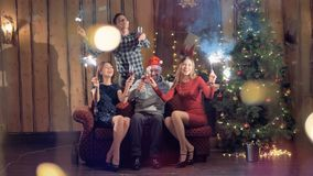 Portret van vrolijke vrienden met glas champagne die camera, het glimlachen onderzoeken stock videobeelden