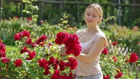Portret van vrolijke vrouwelijke tuinman stock footage