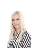 Portret van Vrouw die Gestreept Overhemd in Studio dragen Royalty-vrije Stock Fotografie