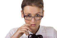 Portret van vrouw die glazen draagt Royalty-vrije Stock Foto