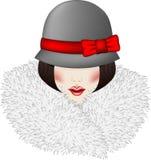 Portret van vrouw gekleed in uitstekende stijl royalty-vrije stock afbeelding