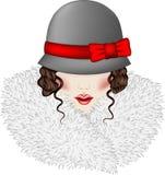 Portret van vrouw gekleed in uitstekende stijl Stock Foto