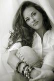 Portret van vrouw. Gestemd Sepia. Royalty-vrije Stock Afbeeldingen