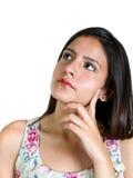 Portret van vrouw het denken Stock Afbeeldingen