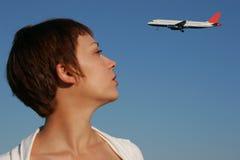 Portret van vrouw met een vliegtuig Royalty-vrije Stock Afbeeldingen