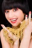 Portret van vrouw met gouden halsband stock foto