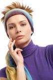 Portret van in vrouw met hairband stock afbeelding