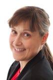 Portret van vrouw met vriendschappelijke glimlach Stock Foto