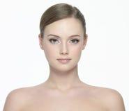 Portret van vrouw op wit stock foto