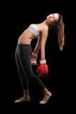 Portret van vrouwelijke bokser stock foto's