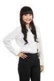 Portret van vrouwelijke call centrewerknemer Royalty-vrije Stock Fotografie