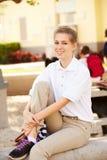 Portret van Vrouwelijke Middelbare schoolstudent Wearing Uniform royalty-vrije stock afbeeldingen