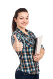 Portret van vrouwelijke student met boeken royalty-vrije stock foto's