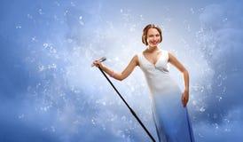 Portret van vrouwelijke zanger royalty-vrije stock afbeeldingen