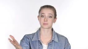Portret van vrouwen gesturing frustratie en woede stock videobeelden